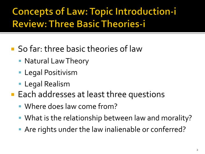 Concepts of law topic introduction i review three basic theories i