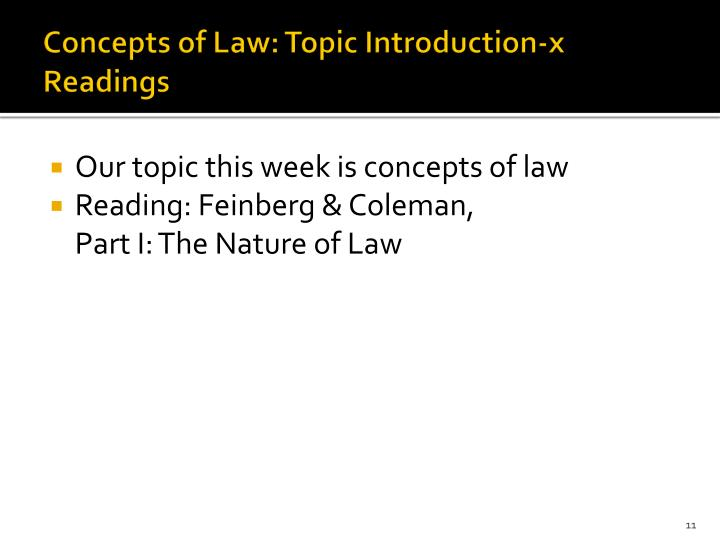 Concepts of Law: Topic Introduction-x