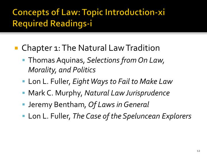 Concepts of Law: Topic Introduction-xi