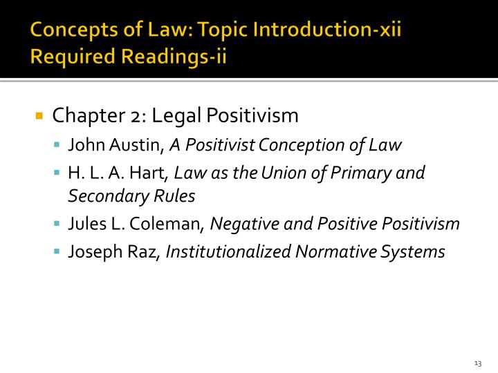 Concepts of Law: Topic Introduction-xii