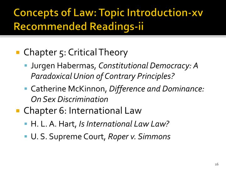 Concepts of Law: Topic Introduction-xv