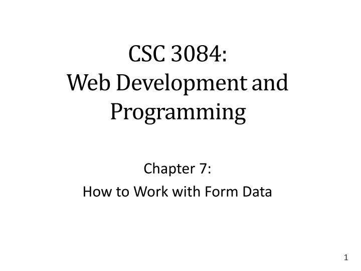 Csc 3084 web development and programming