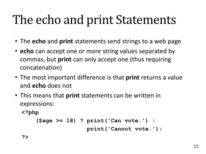 The echo and print Statements