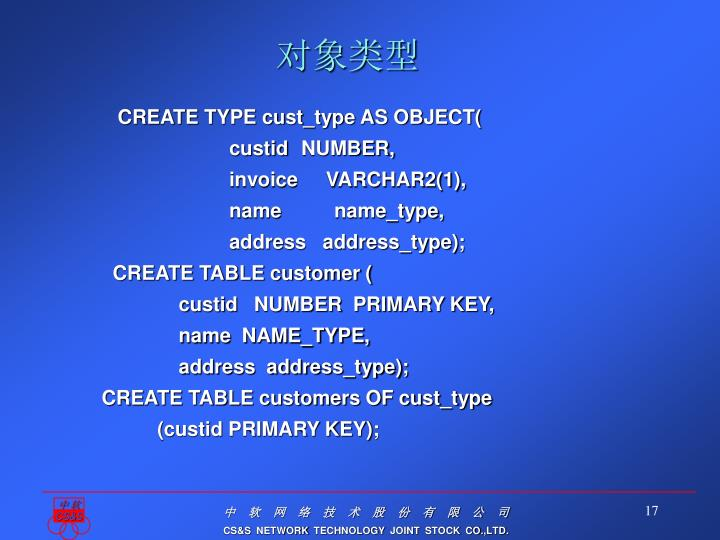 CREATE TYPE cust_type AS OBJECT(