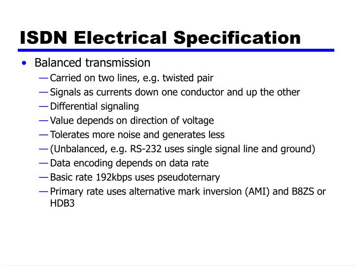 ISDN Electrical Specification