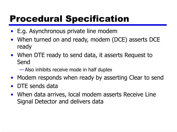 Procedural Specification