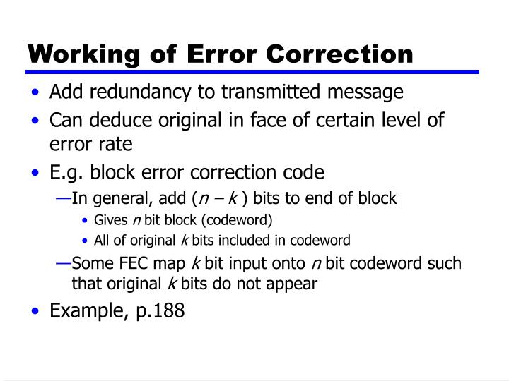 Working of Error Correction