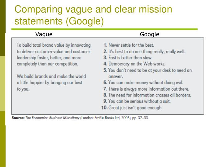 Comparing vague and clear mission statements (Google)