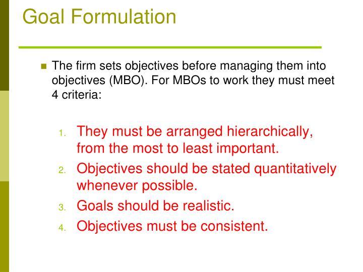 Goal Formulation