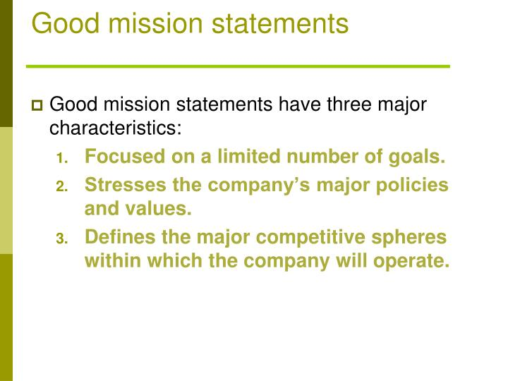 Good mission statements