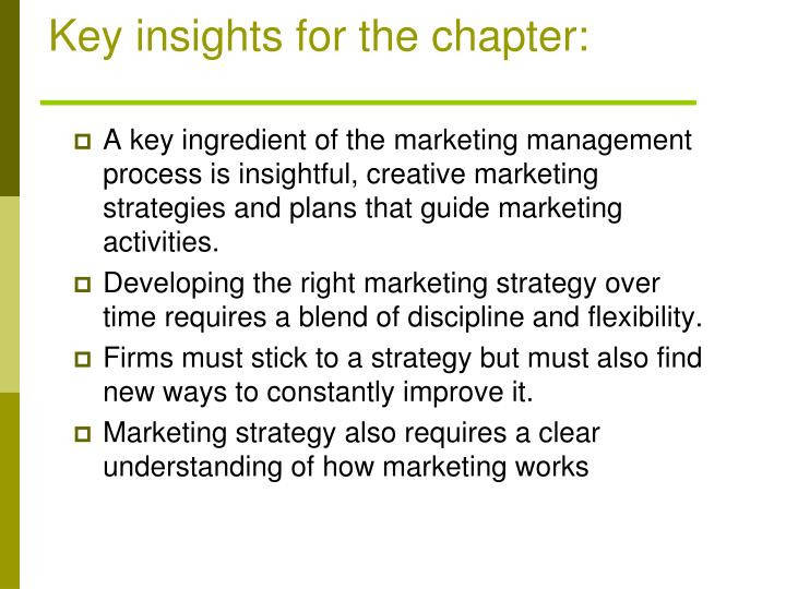 Key insights for the chapter