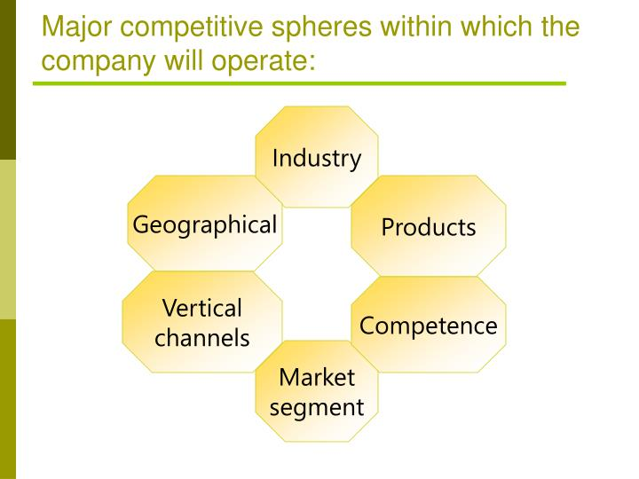 Major competitive spheres within which the company will operate:
