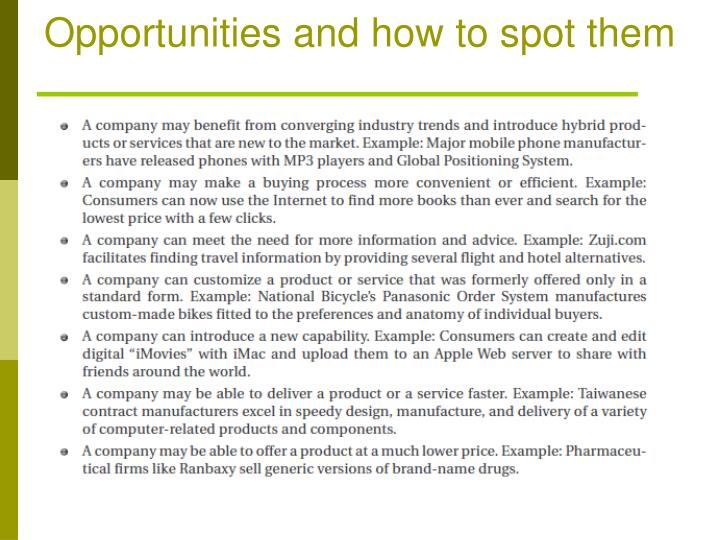 Opportunities and how to spot them