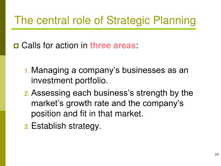 The central role of Strategic Planning