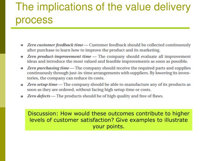 The implications of the value delivery process