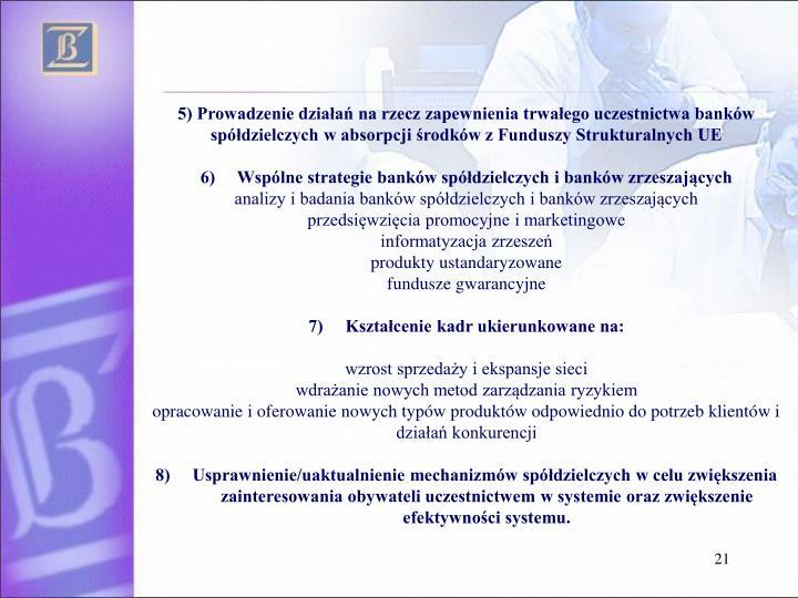 5) Prowadzenie działań na rzecz zapewnienia trwałego uczestnictwa banków spółdzielczych w absorpcji środków z Funduszy Strukturalnych UE