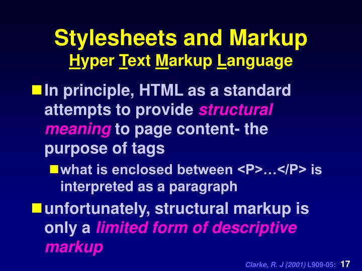 Stylesheets and Markup