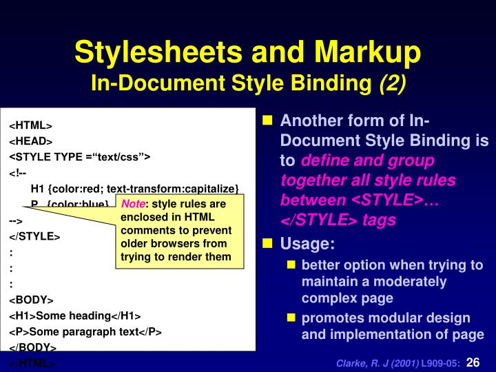 Another form of In-Document Style Binding is to