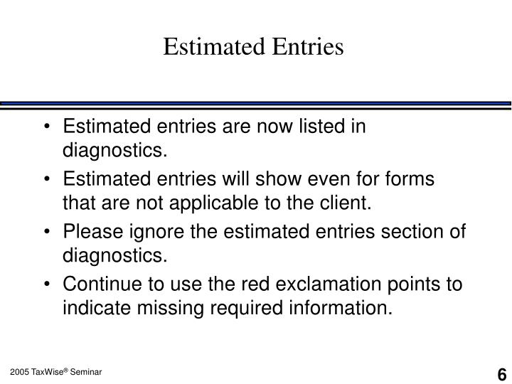 Estimated Entries
