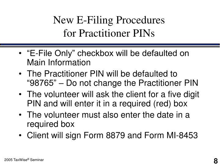 New E-Filing Procedures