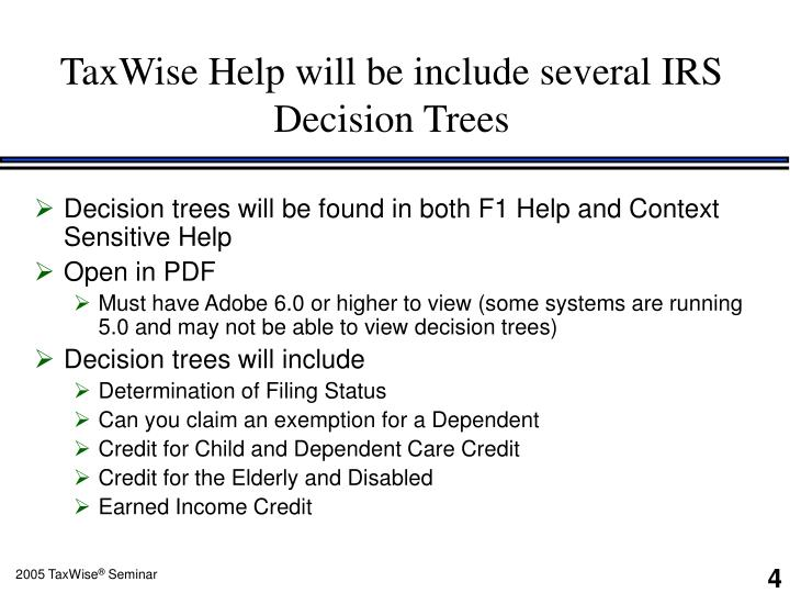 TaxWise Help will be include several IRS Decision Trees