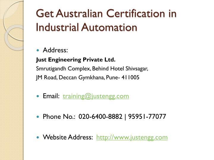 Get Australian Certification in Industrial Automation