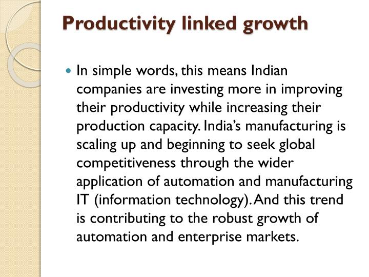 Productivity linked growth