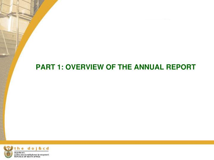 PART 1: OVERVIEW OF THE ANNUAL REPORT