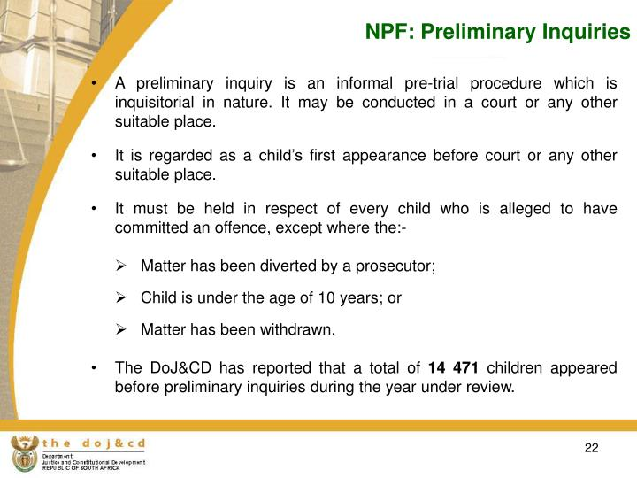 NPF: Preliminary Inquiries