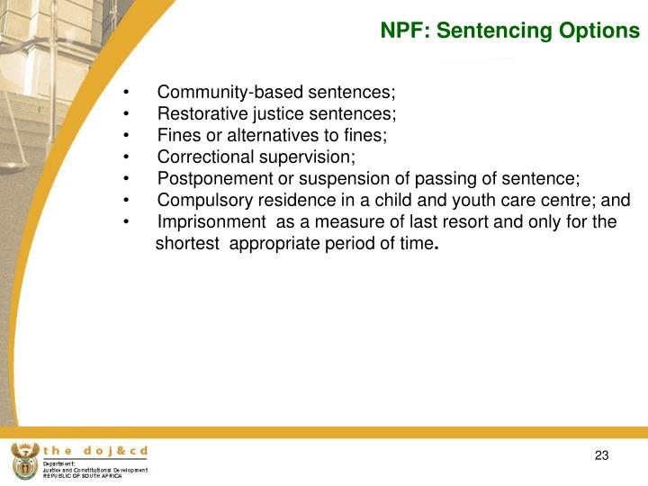 NPF: Sentencing Options