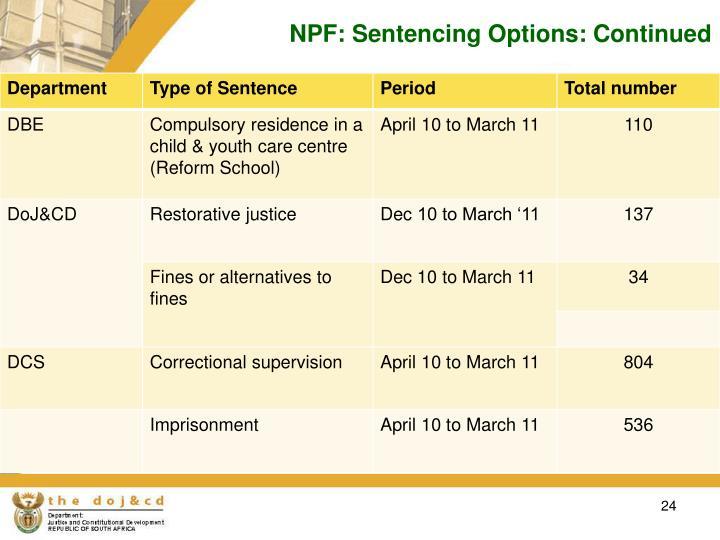 NPF: Sentencing Options: Continued