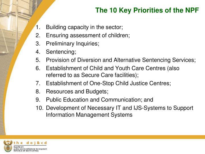 The 10 Key Priorities of the NPF