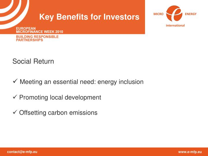 Key Benefits for Investors