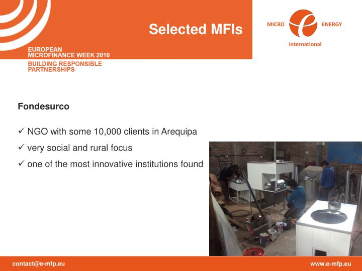 Selected MFIs