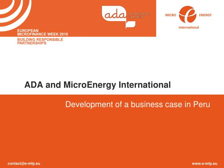ADA and MicroEnergy International