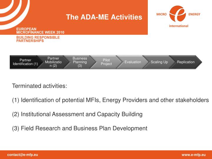 The ADA-ME Activities