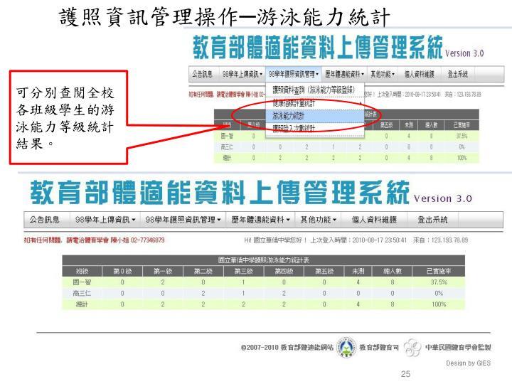 護照資訊管理操作─游泳能力統計