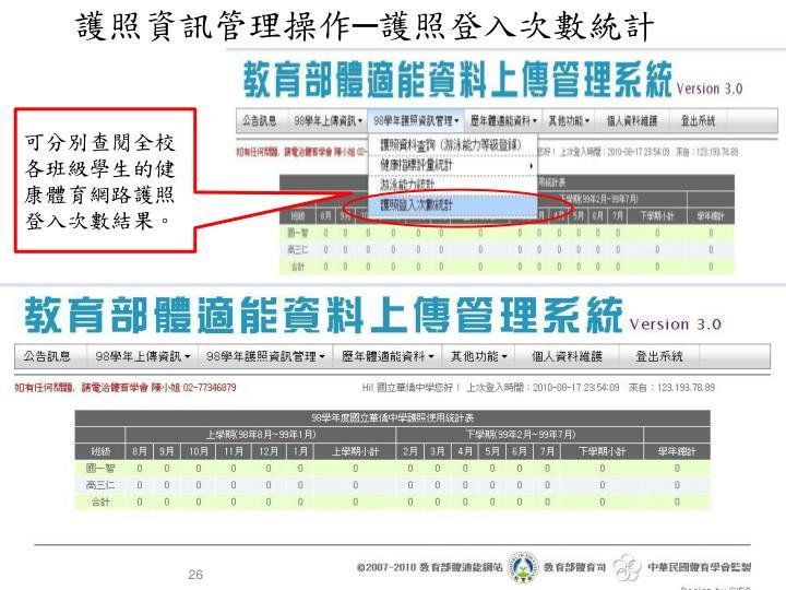 護照資訊管理操作─護照登入次數統計
