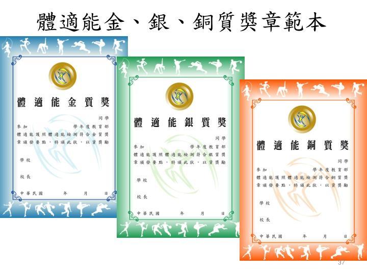 體適能金、銀、銅質獎章範本