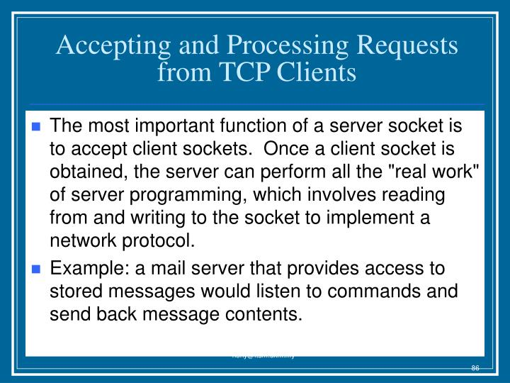 Accepting and Processing Requests from TCP Clients