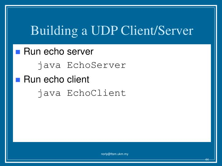 Building a UDP Client/Server