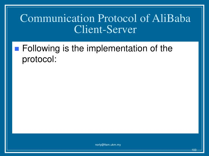 Communication Protocol of AliBaba Client-Server
