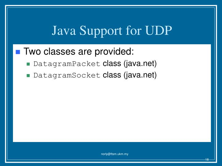 Java Support for UDP