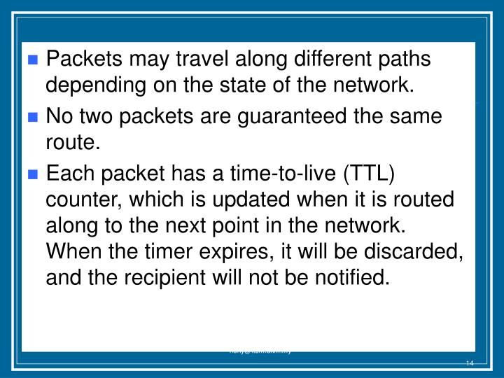 Packets may travel along different paths depending on the state of the network.