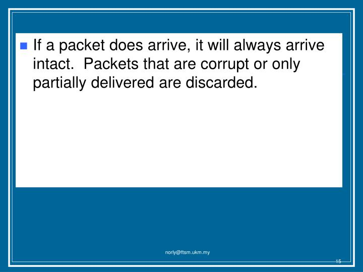 If a packet does arrive, it will always arrive intact.  Packets that are corrupt or only partially delivered are discarded.