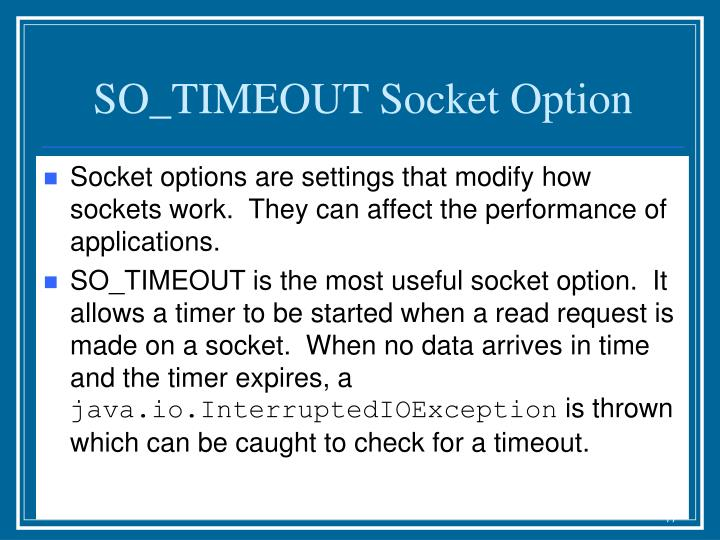 SO_TIMEOUT Socket Option