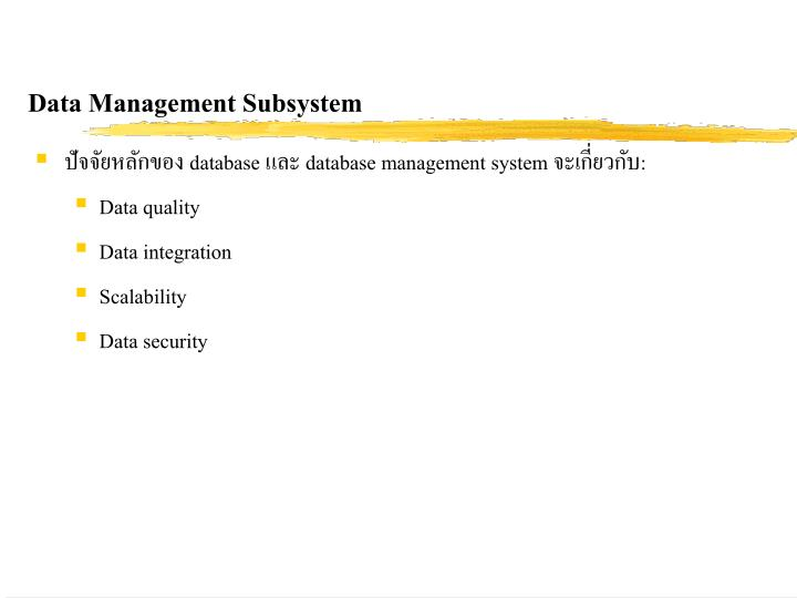 Data Management Subsystem