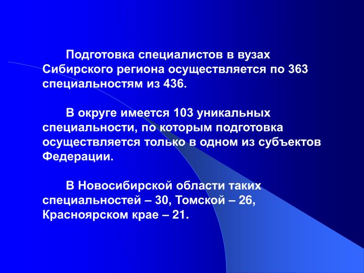 Подготовка специалистов в вузах Сибирского региона осуществляется по 363 специальностям из 436.