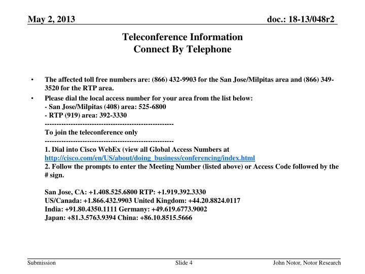 Teleconference Information