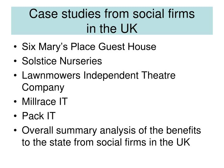 Case studies from social firms